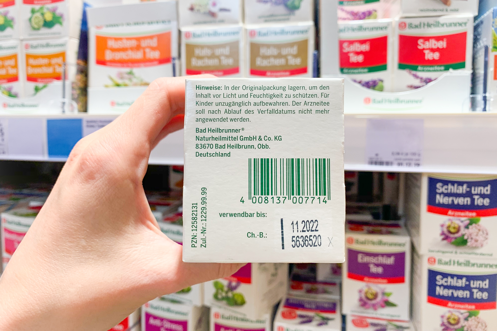 Back of Bad Heilbrunner tea packaging with barcode